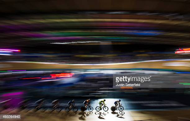 Riders in action during the the Elimination race round of the 1878 Cup during day one of the London Six Day Race at the Lee Valley Velopark on...