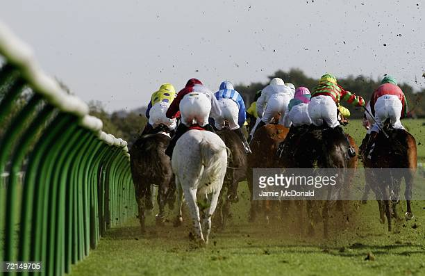 Riders in action during the USK Vally Stud Median Auction Maiden Stakes run at Newmarket Roley Mile race course on October 12 2006 in Newmarket...
