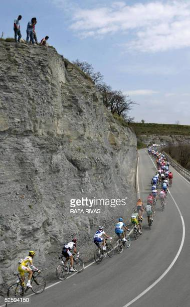 Riders in the pack climb La Barrerilla hill during the third stage of the Tour of the Basque Country-Vuelta al Pais Vasco cycling race, a 176...
