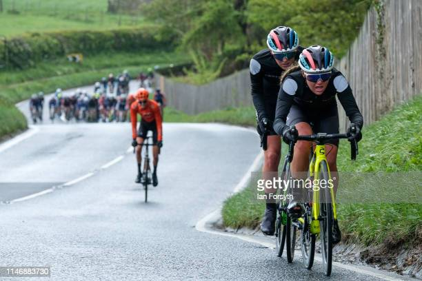 Riders in the peloton climb Cote Lythe Bank during Stage 2 of the Women's race of the Tour de Yorkshire cycling race on May 04 2019 in Whitby England...