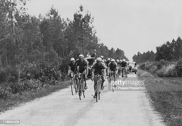 Riders in the Tour de France passing through the Landes Department on their way to Bordeaux circa 1935