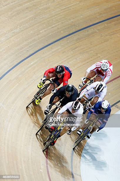 Riders including Maximilian Levy of Germany Matthew Baranoski of USA and Edward Dawkins of New Zealand compete in the Mens Keirin first round race...