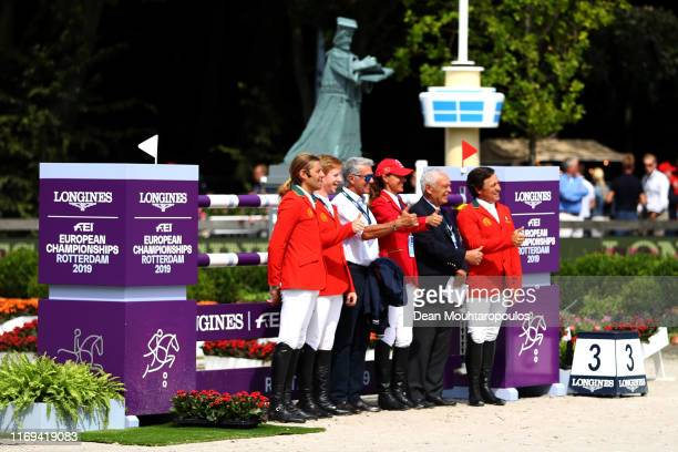 Riders inspect the course during Day 3 of the Longines FEI Jumping European Championship speed competition against the clock presented by Rabobank at...