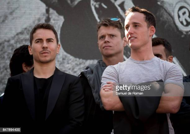 Riders Jorge Lorenzo Tito Rabat and Pol Espargaro during the Funeral Tribute For Angel Nieto in Madrid on September 16 2017 in Madrid Spain