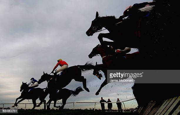 Riders jump the last fence during the Wesley Celebration Handicap Steeple Chace Race at Huntingdon Race Course on October 29 2008 in Huntingdon...