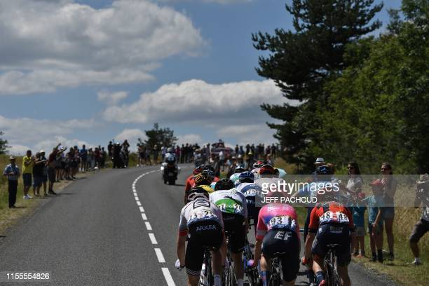 Riders lead the race in a breakaway during the ninth stage of the 106th edition of the Tour de France cycling race between Saint-Etienne and Brioude,...