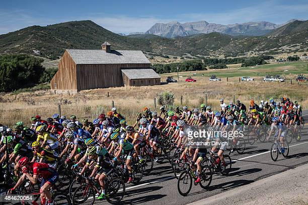 Riders leave the start for stage 4 of the Tour of Utah on August 6 2015 in Soldier Hollow Utah