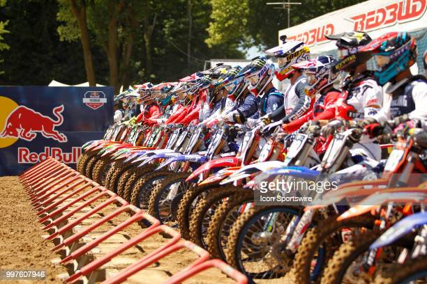 Riders line up at the starting line during the Red Bull Redbud National MX race on July 07 at The Redbud National in Buchanan MI