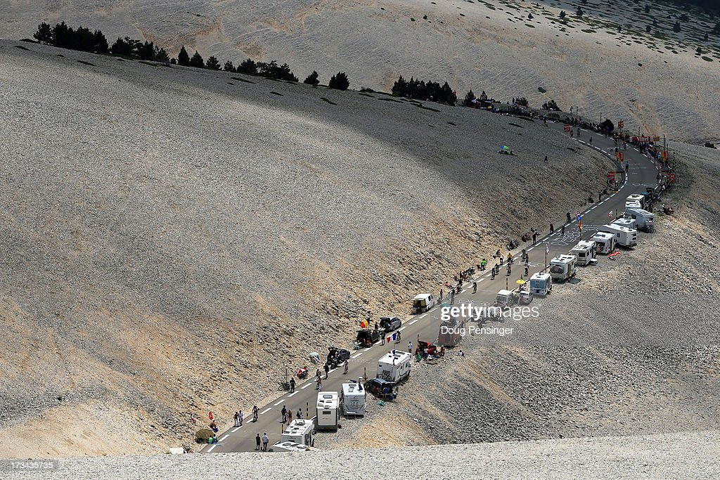 Riders make theiir way up the slopes of Mont Ventoux during stage fifteen of the 2013 Tour de France, a 242.5KM road stage from Givors to Mont Ventoux, on July 14, 2013 in Givors, France.