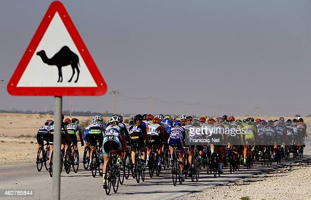 Riders make their way through Umm Sakhama during stage three of the 2015 Ladies Tour of Qatar from Souq Waqif to Al Khor Corniche on February 5, 2015...