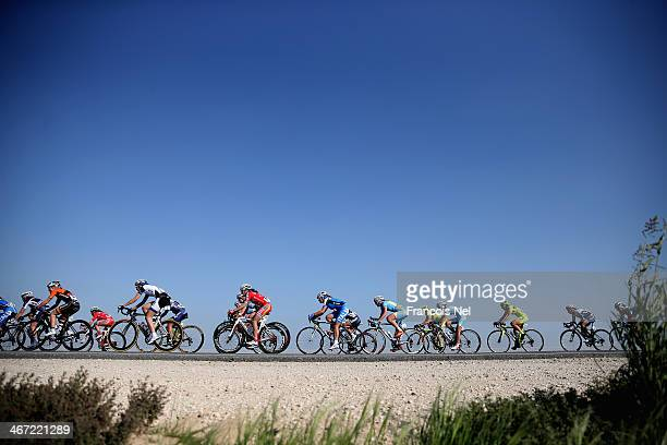 Riders make their way through Umm Slal Ali during stage three of the 2014 Ladies Tour of Qatar from Katara Cultural Village to Al Khor Corniche on...