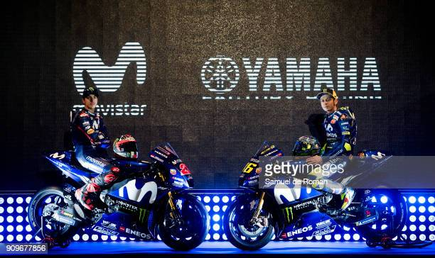 Riders Maverick Vinales and Valentino Rossi attend the Movistar Yamaha Team Presentation 2018 on January 24 2018 in Madrid Spain