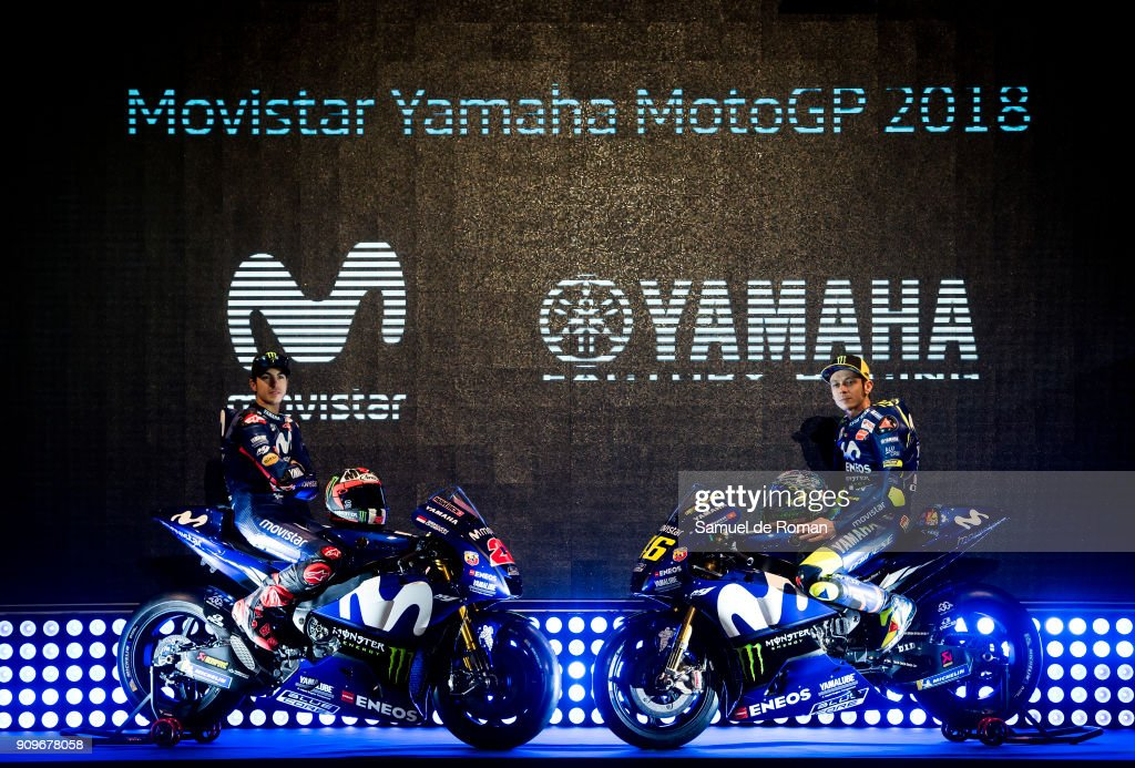 Riders Maverick Vinales and Valentino Rossi attend the Movistar Yamaha Team Presentation 2018 on January 24, 2018 in Madrid, Spain.