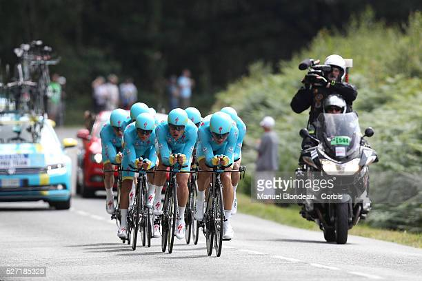 Riders of Astana Pro Team during the 2015 Tour of France, Team Time trial, Stage 9, Vannes - Plumelec, on July 12, 2015. The 102nd edition of the...