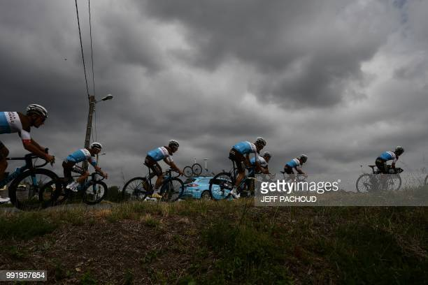 Riders of France's AG2R La Mondiale cycling team trains on July 5 2018 near MouilleronleCaptif western France two days prior to the start of the...