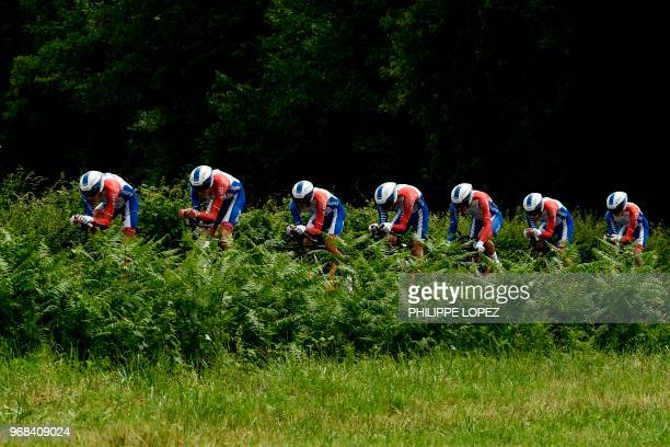 Riders of France's Groupama - FDJ cycling team compete during the third stage of the 70th edition of the Criterium du Dauphine cycling race, a...