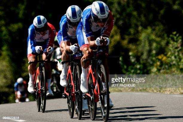 Riders of France's Groupama - FDJ cycling team pedal during the third stage of the 105th edition of the Tour de France cycling race, a 35.5 km team...