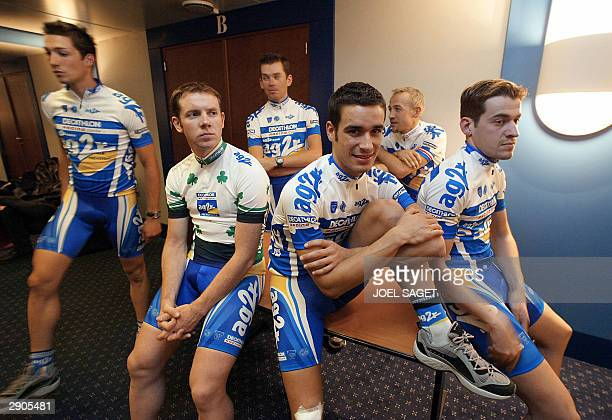 riders of French AG2R cycling team Nicolas Portal Ireland' Mark Scanlon Christophe Oriol Spain Inigo Chaurreau Ludovic Turpin and Julien Laidoun...