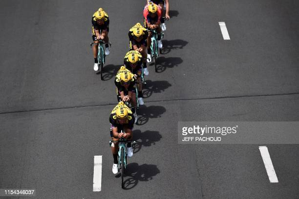 Riders of Netherlands' Jumbo-Visma cycling team train before the second stage of the 106th edition of the Tour de France cycling race, a 27.6km team...