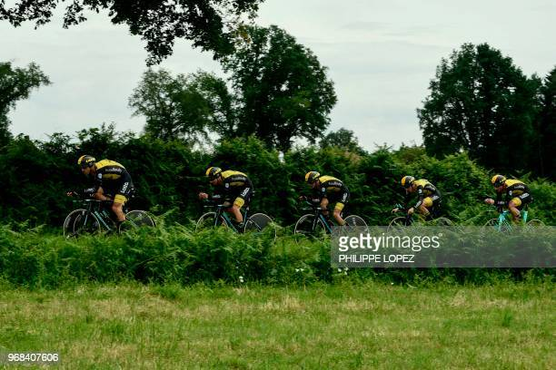 Riders of Netherlands' Lotto NL Jumbo cycling team compete during the third stage of the 70th edition of the Criterium du Dauphine cycling race a...