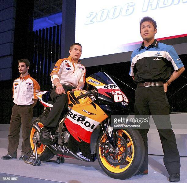 Riders of Repsol Honda Team MotoGP Nicky Hayden of America Dani Pedrosa of Spain and JiR Konica Minolta Honda Team Makoto Tamada of Japan pose during...