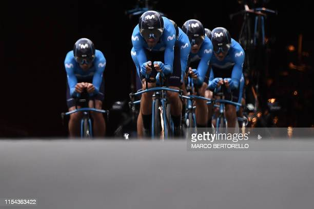 Riders of Spain's Movistar Team cycling team compete in the second stage of the 106th edition of the Tour de France cycling race, a 27.6km team...