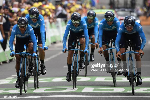 Riders of Spain's Movistar Team cycling team sprint before the finish line in the second stage of the 106th edition of the Tour de France cycling...