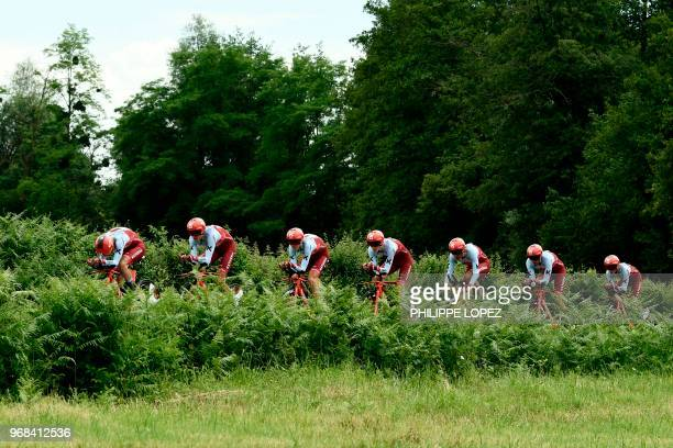 Riders of Switzerland's Katusha Alpecin cycling team compete during the third stage of the 70th edition of the Criterium du Dauphine cycling race, a...