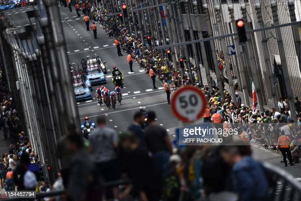 TOPSHOT Riders of Switzerland's Team Katusha Alpecin cycling team compete in the second stage of the 106th edition of the Tour de France cycling race...