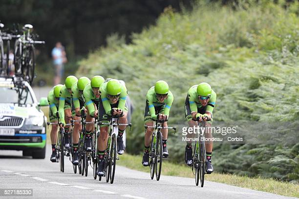 Riders of Team Cannondale-Garmin during the 2015 Tour of France, Team Time trial, Stage 9, Vannes - Plumelec, on July 12, 2015. The 102nd edition of...