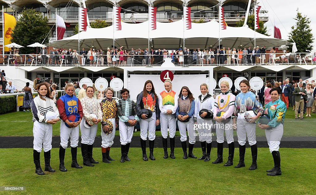 Riders of the 2016 Magnolia Cup attend the Qatar Goodwood Festival 2016 at Goodwood on July 28, 2016 in Chichester, England.