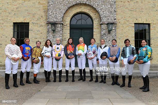 Riders of the 2016 Magnolia Cup pose for a photo as they arrive at the Qatar Goodwood Festival 2016 at Goodwood on July 28 2016 in Chichester England