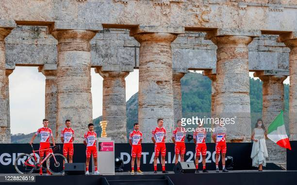Riders of the Androni Giocattoli-Sidermec team pose on stage at the Doric Temple of Segesta, near Palermo, Sicily, on October 1, 2020 during an...