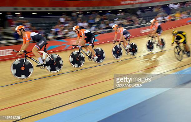 Riders of the Netherlands compete during the London 2012 Olympic Games men's team pursuit track cycling event at the Veldorome in the Olympic Park in...