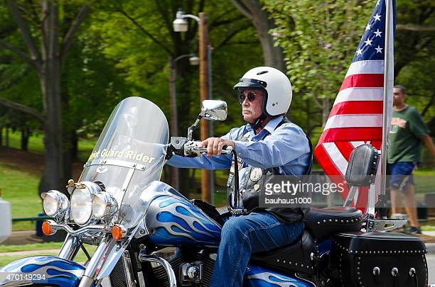riders of the patriot guard in a mia funeral procession - honor guard stock pictures, royalty-free photos & images