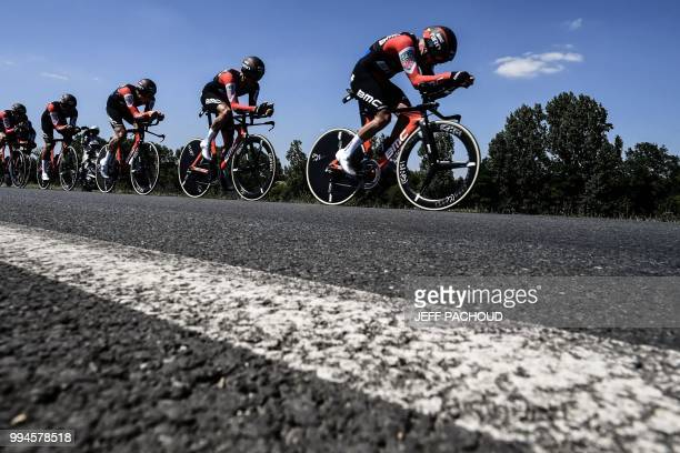 TOPSHOT Riders of USA's BMC Racing cycling team pedal during the third stage of the 105th edition of the Tour de France cycling race a 355 km team...