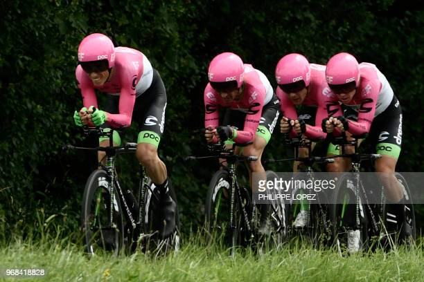 Riders of USA's EF Education First - Drapac P/B - Cannondale cycling team compete during the third stage of the 70th edition of the Criterium du...