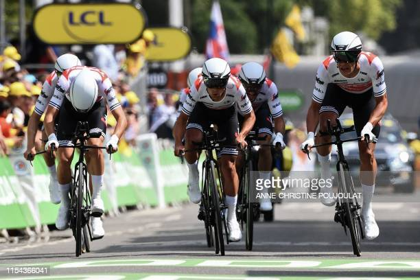 Riders of USA's Trek-Segafredo cycling team sprint before the finish line in the second stage of the 106th edition of the Tour de France cycling...