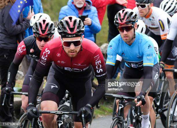 Riders on the Cote de Park Rash ascent near the village of Kettlewell in the Yorkshire Dales during the fourth and final stage of the Tour de...