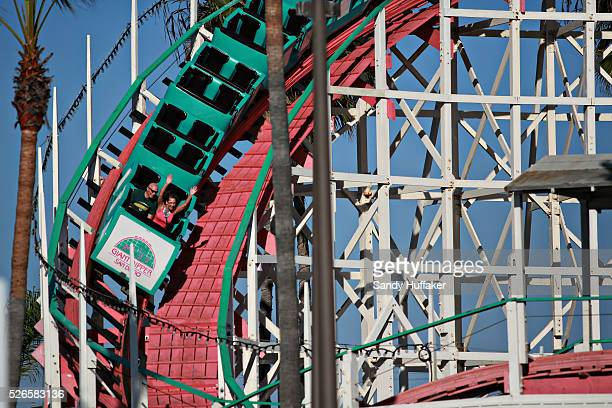Riders on the Giant Dipper roller coaster at Belmont Park in Mission Beach in San Diego CA on Monday October 27 2014
