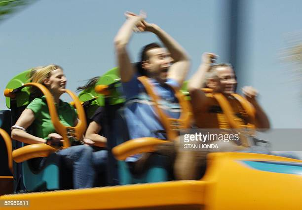 RECORD Riders on the 'Kingda Ka' roller coaster are launched on the ride's opening day 19 May at Six Flags amusement park in Jackson New Jersey The...
