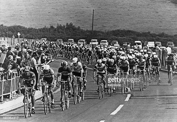 Riders on the Plympton Bypass near Plymouth Devon during the second stage of the Tour de France 2nd July 1974 This is the first time the Tour de...