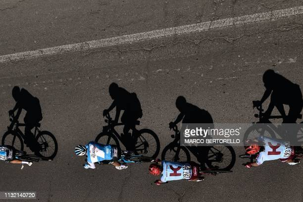 Riders pedal during the oneday classic cycling race Milan San Remo on March 23 2019