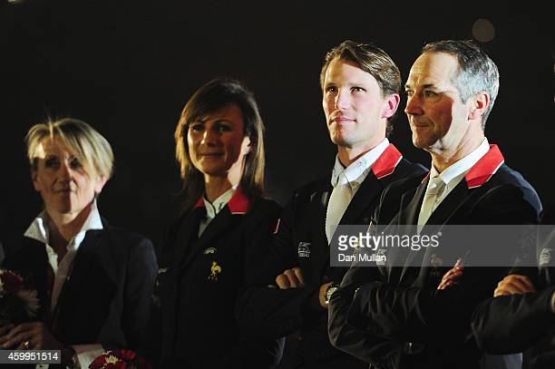 Riders Penelope Leprevost, Kevin Staut and Patrice Delaveau attend 'La Nuit des Masters' Gala as part of the Gucci Paris Masters 2014 on December 4,...