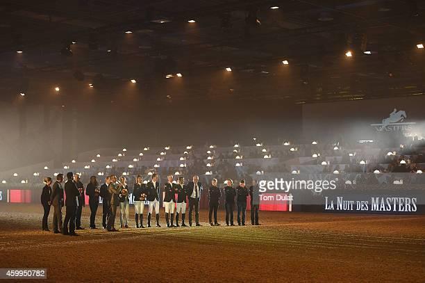 Riders Penelope Leprevost, Kevin Staut, Patrice Delaveau and Simon Delestre attend 'La Nuit des Masters' Gala as part of the Gucci Paris Masters 2014...