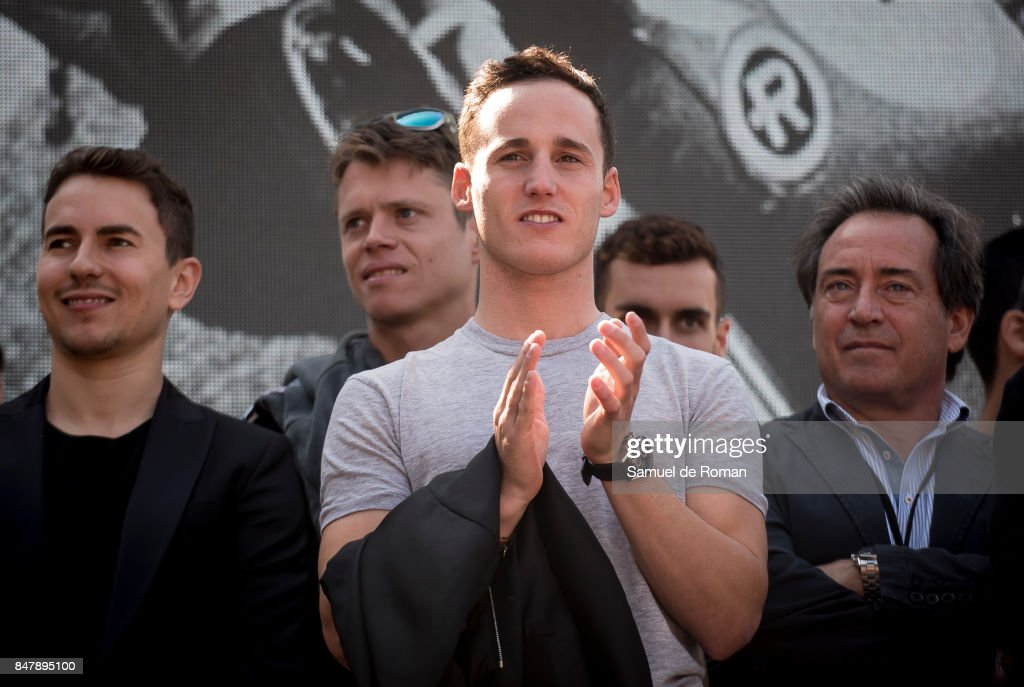 Riders Pol Espargaro, Jorge Lorenzo, Tito Rabar and Sito Pons during the Funeral Tribute For Angel Nieto in Madrid on September 16, 2017 in Madrid, Spain.