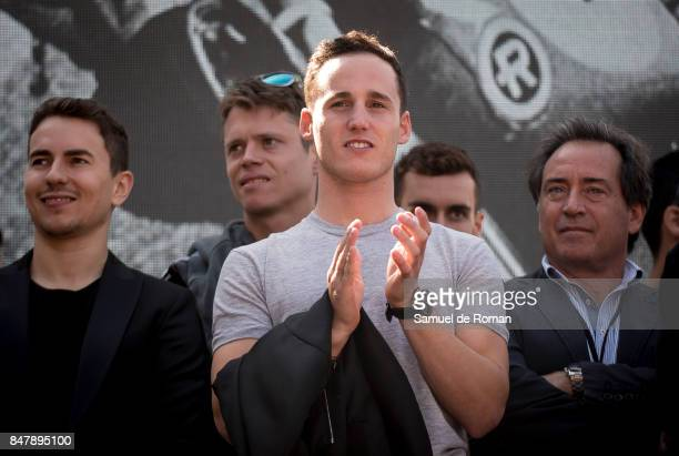 Riders Pol Espargaro Jorge Lorenzo Tito Rabar and Sito Pons during the Funeral Tribute For Angel Nieto in Madrid on September 16 2017 in Madrid Spain