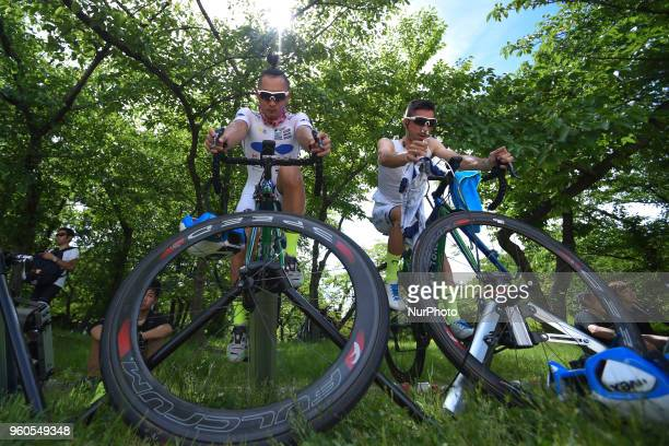 RIders prepare for the opening stage 26km Individual Time Trial in Daisen Park Sakai On Sunday May 20 in Sakai Osaka Prefecture Japan