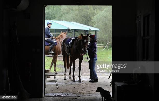 Riders prepare horses for a ride during a training day at Vampil yard, near Malacky, Slovakia on September 3, 2014. AFP PHOTO/SAMUEL KUBANI