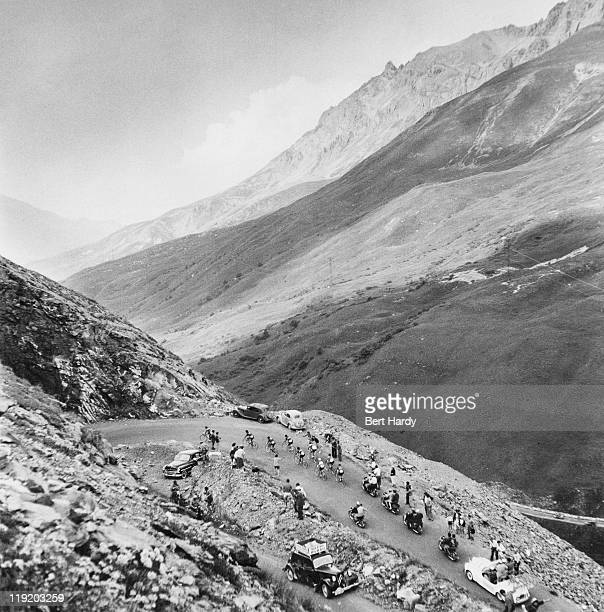 Riders reach the Col du Galibier on the 8th stage of the Tour de France between ThononlesBains and Briancon 14th July 1955 Original publication...